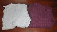 Women's EDDIE BAUER Lot Of 2 Crocheted Sweaters/Tops Size XL ~White~Plum~ NICE!