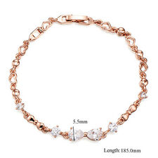 Rose Gold Filled Heart Love Crystal Chain Link Wrist Bracelet Fashion Jewelry