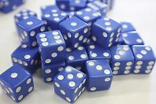 "WHOLESALE LOT OF 50 BLUE DICE WHITE PIPS 6 SIDED D6 DIE GAME SIX 5/8"" 16mm"