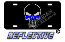 Thin Blue Line Punisher Decal and Auto Tag License Plate + 2 free decals