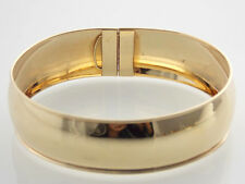 "LADIES 14KT HIGH POLISHED SOLID WIDE GOLD FLEXIABLE OVAL BANGLE W- 3/4"" 8"" 13.8g"