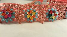 7cm- 1 meter coral pink & gold embroidered lace trim with colourful flowers