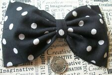 "HANDMADE 5"" BLACK WHITE POLKA DOT SPOTTY COTTON BOW HAIR CLIP 50s VINTAGE STYLE"