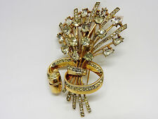 RARE Sterling Vermeil Coro-Craft Figural Rhinestone Embedded Flower Brooch 45.8