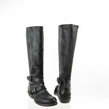 Women's Mariano Renzi Shoes Tall Black Leather Buckle Boots Size EU 37 NEW! $470