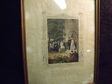 EARLY 19TH CENTURY EMBOSSED PAPER COLORED COPPER ENGRAVING OF PERIOD WEDDING