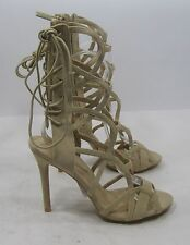 """nude  4.5""""high Stiletto heel   open toe back  tie up  sexy shoes   .Size.  8"""