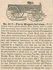 VERY OLD 1874 STUDEBAKER FARM WAGON FULL SIZE AD ADVERTISEMENT SOUTH BEND INDIA