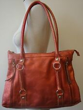 MARCO BUGGIANI PURSE SHINY PINK METALLIC LEATHER TOTE SHOULDER BAG ZIPPERS OKUC