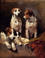 Art Oil painting lovely dogs Three Hounds With A Terrier on canvas 36""