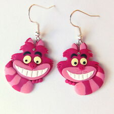 Alice In Wonderland Cheshire Cat Color Rosa Rayas cuelgan Disney pendientes Regalo Idea