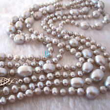 "60"" 4.0-9.0mm Silver Gray Freshwater Pearl Necklace Fashion Jewelry UK"