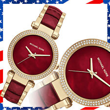 New Authentic Michael Kors Womens Parker Two-Tone Garnet Acetate Watch MK6427