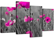 Large Pink Flowers Floral Black White Canvas Wall Art Pictures 4137