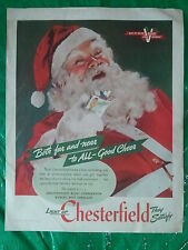 1944 Santa Claus Chesterfield Cigarette WWII War Bond Victory Print Advertizing
