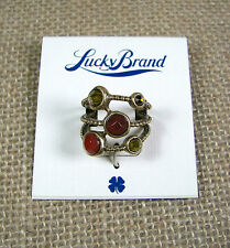 Lucky Brand Gold Tone 3 Rope Red, Orange and Gold Stone Ring Size 7 MSRP $35