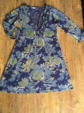 Blue And Green Floral Tunic Dress From White Stuff Size 10