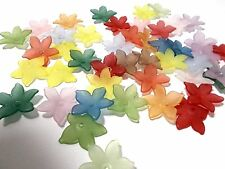100pcs 22mm x 5mm Acrylic Lucite FLOWER Beads - Frosted Assorted / Mixed Colors