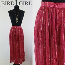 METALLIC SILVER STRIPES 80S VINTAGE DEEP PINK CHEESECLOTH HIPPY BOHO SKIRT 12-14