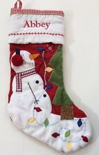 Pottery Barn Kids Christmas Red Gingham Quilted Snowman Stocking Name ABBEY New