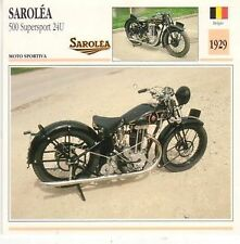 Scheda moto plastificata SAROLEA 500 Supersport 24U - Moto sportiva - 1929