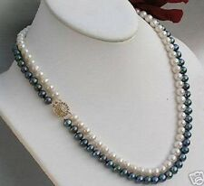2 rows 7-8mm black Akoya white pearl necklace