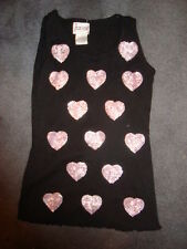 CELEB KIDS BLACK AND PINK SEQUINS HEART TANK TOP SIZE 6X