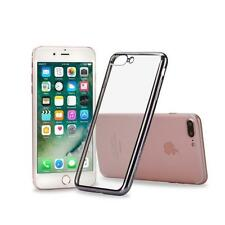 Coque Silicone Transparente Clair Gel TPU Contour Chrome Noir Black Iphone 7