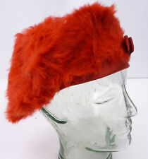Vintage 60s Bright Red Angora Fur Beret Hat Satin Ribbon Bow Made in France