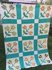 VINTAGE APPLIQUÉ TULIPS QUILT TOP SET IN GREEN