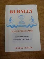 1998/1999 Burnley Sunday League Towneley Cup Final: Burnley Boys Club v CWR Scaf