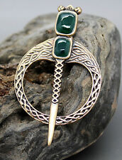 IRISH BRONZE CELTIC BROOCH PIN GREEN ONYX SWORD, SCARF KILT LAPEL, IRELAND BNIB