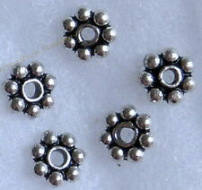 925 Bali Sterling Silver 5mm 50 pcs. Daisy Spacer Beads Handcrafted Findings New