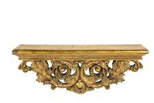 Estante de consola barroco hoja oro Rectangular 44 cm