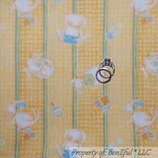 BonEful Fabric FQ Cotton Quilt Debbie Mumm Yellow Baby Bunny Nursery Stripe Dot