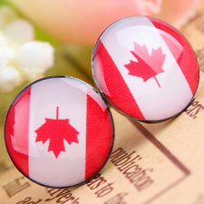 Maple Leaf Canada Flag 10mm Round Stainless Steel Pin Ears Stud Earrings Jewelry