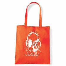 Art T-shirt, Borsa shoulder Disc Jockey Cuffie, Arancio, Shopper, Mare