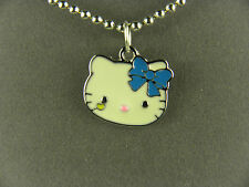 SWEET HELLO KITTY IN HEAD VIEW WITH BLUE BOW METAL CHARM NECKLACE W/ BEAD CHAIN