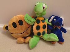 Set Of 3 Small Plush Toys Green Turtle Beige Button Blue Elephant