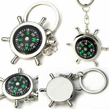 Newest Portable Alloy Silver Nautical Compass Helm Keychain Ring Chain Jewelery