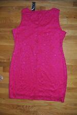 NWT Womens TIANA B. Hot Pink Lace Sleeveless Dress Size LARGE $98
