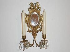 VTG Brass 2 Arm Nude Angel/Cherub Crystal Prism Candle Holder Wall Mirror Sconce