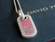 "David Yurman Sterling Pink Rhodonite Diamond Dog Tag Pendant 17/18"" adj Chain"