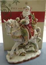 Fitz & Floyd Damask Holiday Large Santa on Horse Figurine Centerpiece New in Box