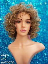 Ladies Zyr curly mid length brown/blonde mixed tones fashion wig classic cap
