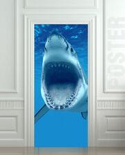 """Door Wall or Fridge STICKER shark underwater predator decole mural poster 30x79"""""""