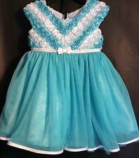 Jona Michelle Baby Girl's tutu Dress 18 months Acqua tulle and lace Sleeveless