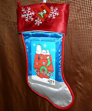 "Snoopy Peanuts 18"" blue red white 3d holographic image Christmas stocking - NWT"