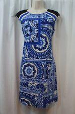 Muse Dress Sz 2 Blue Multi Floral Sleeveless Business Work Dinner Jersey Dress