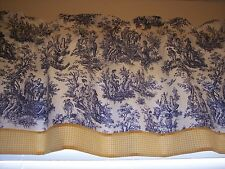 NAVY ON WHITE~WAVERLY Rustic Toile W/ YELLOW GINGHAM STRAIGHT Valance CURTAINS